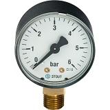 Манометр радиальный  1/4 6 bar TIM Y-50-6